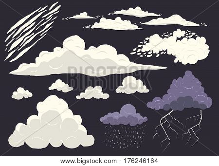 Cloud vector set isolated on dark background, cartoon storm cloudscape with different types.