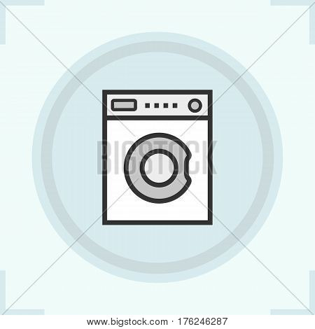 Washing machine color icon. Washer. Laundry service. Isolated vector illustration