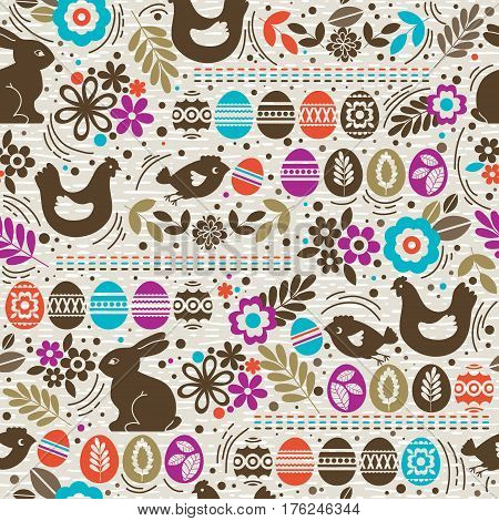Seamless pattern with color easter eggs rabbit flowers and hen. Ideal for printing onto fabric and paper or scrap booking vector illustration