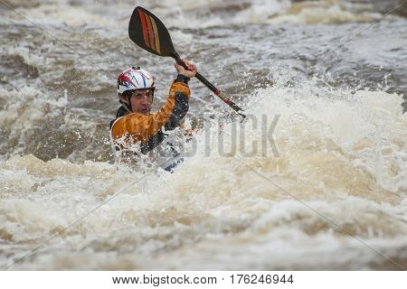 Competition of kayak freestyle on whitewater Russia