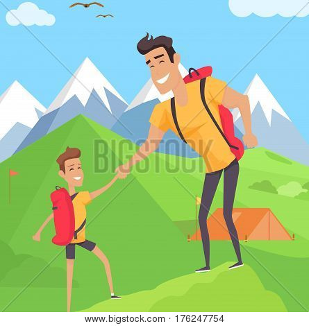 Boy climbing with his father in mountains. Teenager with bag holds his daddy hand. Fatherhood concept. Tent on the lawn snowy hills on background. Summer activities vector illustration in flat