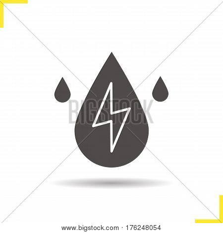 Water energy icon. Drop shadow silhouette symbol. Hydroelectric station. Negative space. Vector isolated illustration