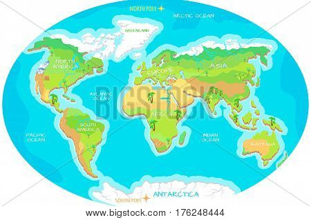 Vector y foto world geographical map names bigstock the world geographical map names of continents oceans north and south america gumiabroncs Image collections