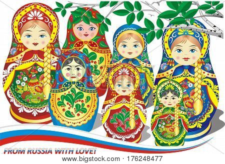 Russian nesting dolls. A set of children's toy dolls. The inscription