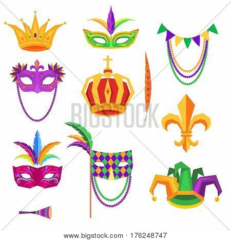 Mardi Gras colorful decorative elements on white. Vector poster of masks with feathers, golden crowns, music instrument, jester hat with balls. Traditional festival elements collection in flat design