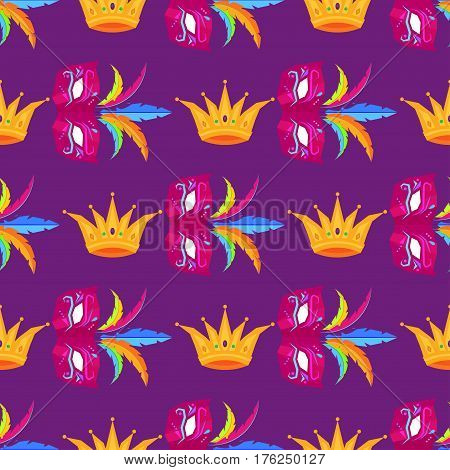 Mardi Gras festival mask and crown wrapping paper. Vector carnival colorful seamless pattern with masks with feathers and golden crown with stones. Mardi Gras decorative elements endless textile