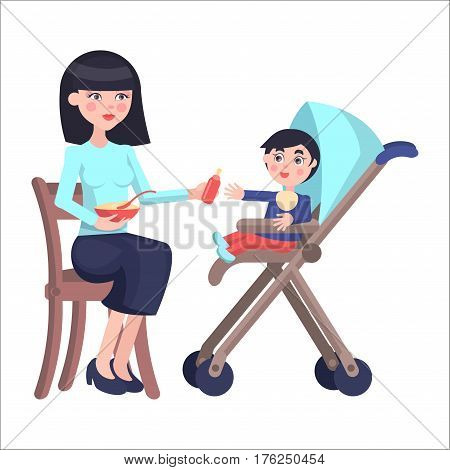 Young mother sits on chair and gives bottle to cute baby boy, who sits on baby carriage on white background. Cartoon family moment. Vector illustration for Mother day. Motherhood concept.