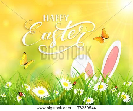 Ears of an Easter bunny and butterflies flying above the grass and flowers, yellow nature background with sun beams and lettering Happy Easter, illustration.