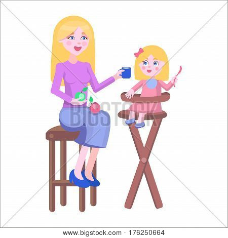Young blonde mother feeds with fruits and milk her baby girl, who sits on high chair on white background. Illustration of motherhood. Cartoon family moment. Vector illustration for Happy Mother day.