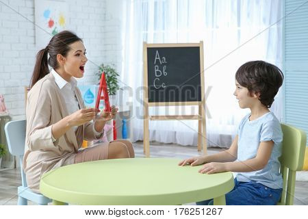 Young woman teacher and little boy on private lesson