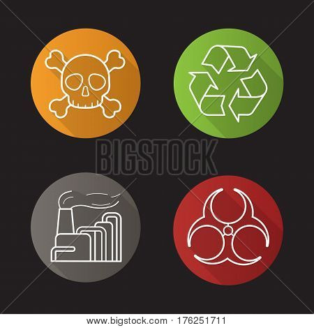 Industrial pollution flat linear long shadow icons set. Biohazard and recycle symbols, factory air pollution and skull with crossbones poison sign. Vector line illustration