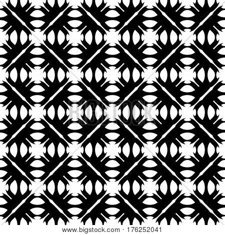 Vector seamless pattern. Abstract monochrome geometric texture. Simple black & white ornamental background with rounded figures. Repeat tiles. Design for decoration, textile, prints, fabric, digital, web