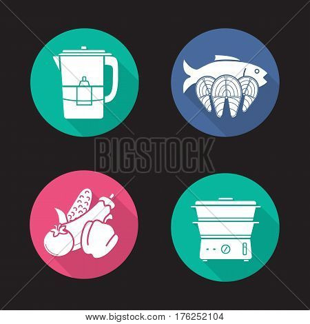 Steam cooking flat design long shadow icons set. Vegetables, salmon fish steaks, water filter and steam cooker. Vector silhouette illustration