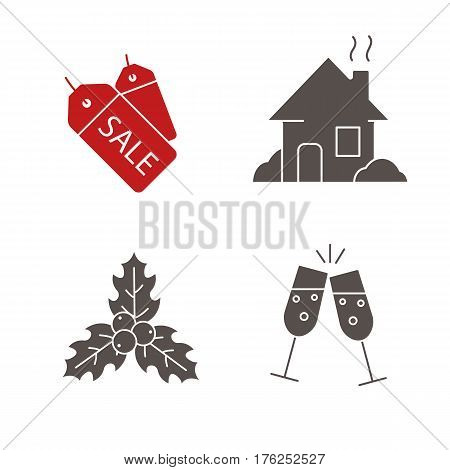 Christmas icons set. New Year silhouette symbols. Sale tags, house, mistletoe, toasting champagne glasses. Vector isolated illustration