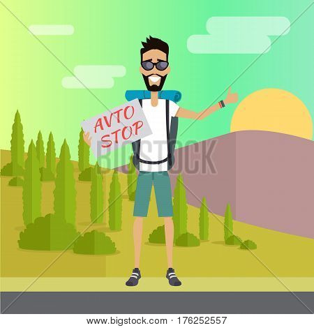 Hitchhiking travel concept. Hitchhiker and traveler shows gesture hitchhiking. Auto stop tourism. Tourist with backpack. Smiling young man personage. Flat design vector illustration.