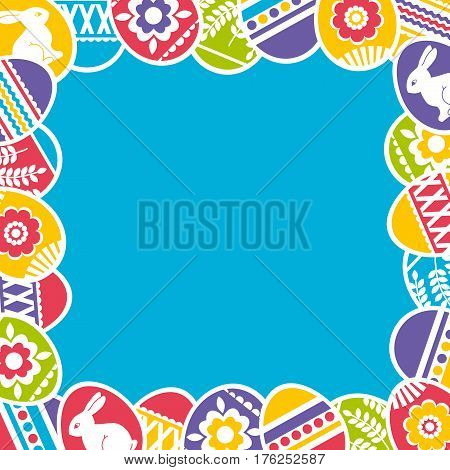 Seamless blue frame with color easter eggs flowers and rabbit. Ideal for printing onto fabric and paper or scrap booking vector illustration