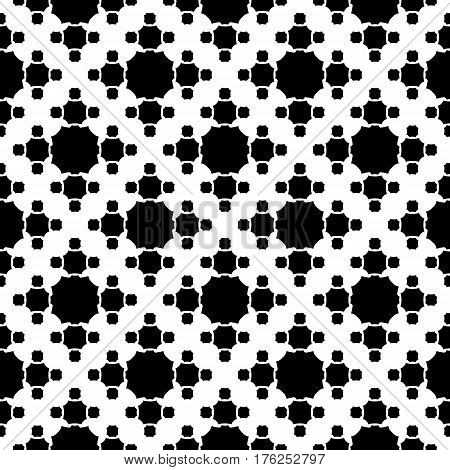 Vector monochrome texture, simple geometric seamless pattern, black octagonal figures on white backdrop. Abstract repeat background for prints, decoration. textile, fabric, cover, furniture, clothes, paper