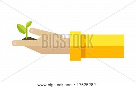 Hand with the young green sprout from the ground. Arbor Day. Earth day. Ecology concept. Save the world concept. Isolated object on white background. Vector illustration.