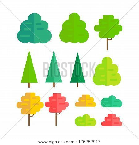 Set of isolated trees design flat. Tree forest, leaf tree isolated, tree branch nature green, plant eco branch tree, organic natural wood illustration