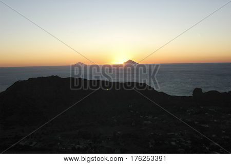 View of sunset over the Aeolian islands