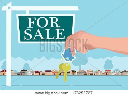 Vector real estate concept in flat style - hands giving keys, banner for sale, houses for sale or rent.