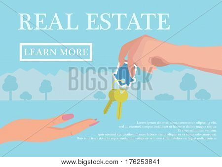 Vector real estate concept in flat style - businessmans hand giving keys to buyer, web banner, houses for sale or rent.