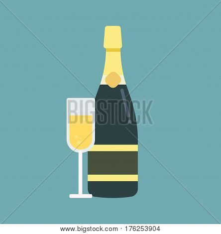 Champagne bottle with glass. Illustration in a flat design style. Vector stock.