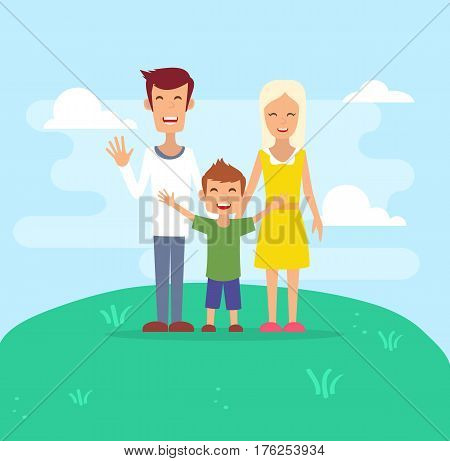 Happy family. Father, mother and son. Family background. Family cartoon. Vector flat stock.