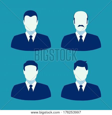 Four businessman avatar. Businessman icon flat. Business people. Vector stock.