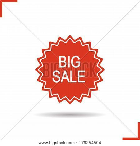 Big sale sign. Drop shadow red sticker. Promotion banner. Isolated illustration. Vector label