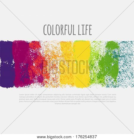 Vector horizontal banner with colorful spray paint splatters. Rainbow banner, vector illustration.