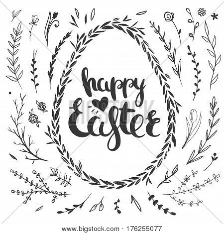 Set of vector floral doodles isolated on white. Easter greeting card template with hand drawn lettering and floral wreath.
