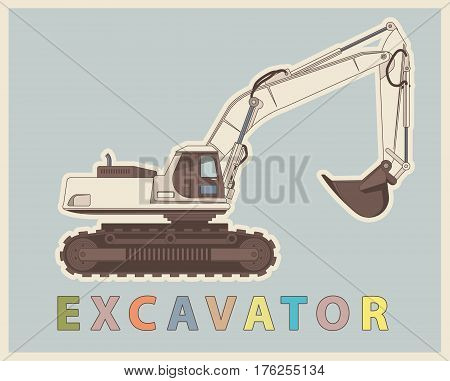 Vector low poly digger in retro style color. Vintage sophisticated elaborated excavator.