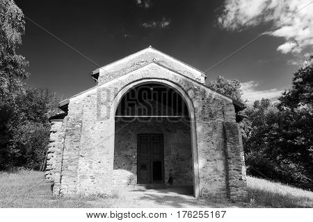 The archeological area of Castelseprio (Varese Lombardy Italy): ruins of a village destroyed in the 13th century. Unesco World Heritage Site. The church. Black and white