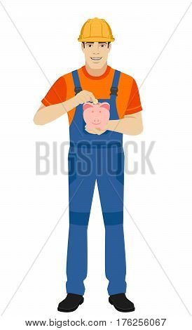 Builder puts coin in a piggy bank. Full length portrait of builder in a flat style. Vector illustration.
