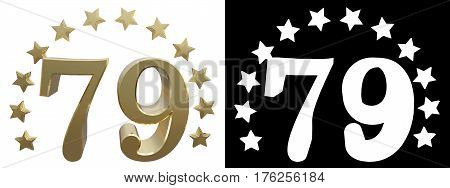 Gold number seventy nine decorated with a circle of stars. 3D illustration
