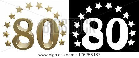Gold number eighty decorated with a circle of stars. 3D illustration