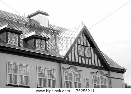 Fragment of old building in Lappeenranta. Lappeenranta - city and municipality in Finland in the province of Eastern Finland. Black and white.