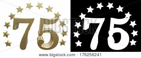 Gold number seventy five decorated with a circle of stars. 3D illustration