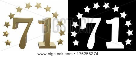 Gold number seventy one decorated with a circle of stars. 3D illustration