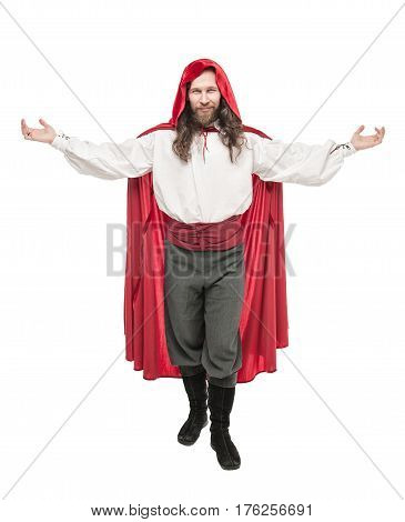 Handsome Man In Historical Pirate Costume And Cloak Isolated