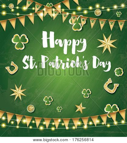 Saint Patrick's Day Background with Golden Flags, Stars and Clover Leaves.
