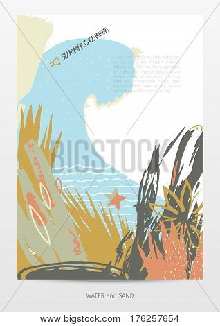 neo-grunge style vector template, summer time, waves and sand theme