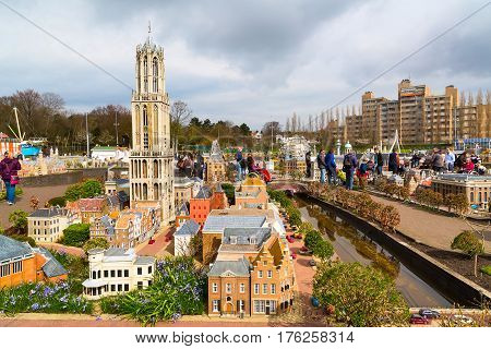 Hague, Netherlands - April 8, 2016: Madurodam, Holland park and tourist attraction in Hague Netherlands