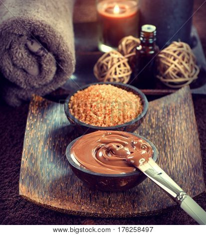 Chocolate Spa, Mask, Bath salt, brown sugar scrub for healthy body and face skin. Aromatherapy. Luxury Spa Treatment. Day-spa