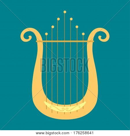 Harp icon golden stringed musical instrument classical orchestra art sound tool and acoustic symphony stringed fiddle wooden vector illustration. Vintage performance classic folk rock artistic sign.