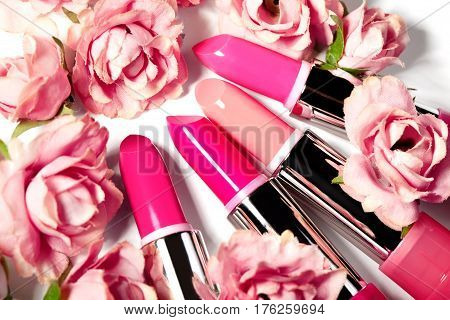 Spring Set Of Lipsticks In Pink Flowers. Beauty Cosmetic Collection. Fashion Trends In Cosmetics, Br