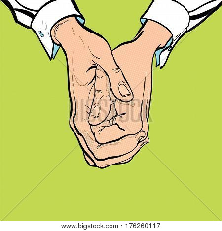 Two clasped hands. Sit on one's hands. Man's hand. Man's wrist. White collar. Concept idea of advertisement and promo.