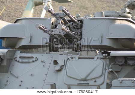 Machine gun in tank armored car of Ukraine