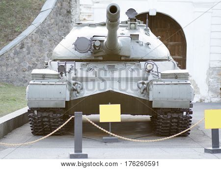 Tank exhibit exhibition of ukraine stands by muzzle forward